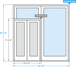 size chart for pella impervia sliding patio doors